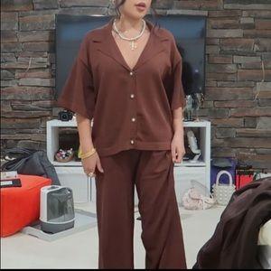Zara Brown Knit cardigan shirt and pants set